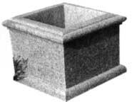 Truhlík na květiny čtvercový, štokovaný (pemrlovaný)